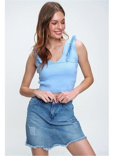 Pink Park Omuzları Fırfırlı Crop Triko Bluz KZ00003 Mavi